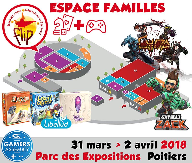 Le Festival des Jeux de Parthenay et les créateurs indépendants de jeux-vidéo, Chop et Skybolt Zack, vainqueurs du concours Trophées FLIP 2017, feront découvrir les jeux-vidéo au public de la Gamers Assembly de Poitiers