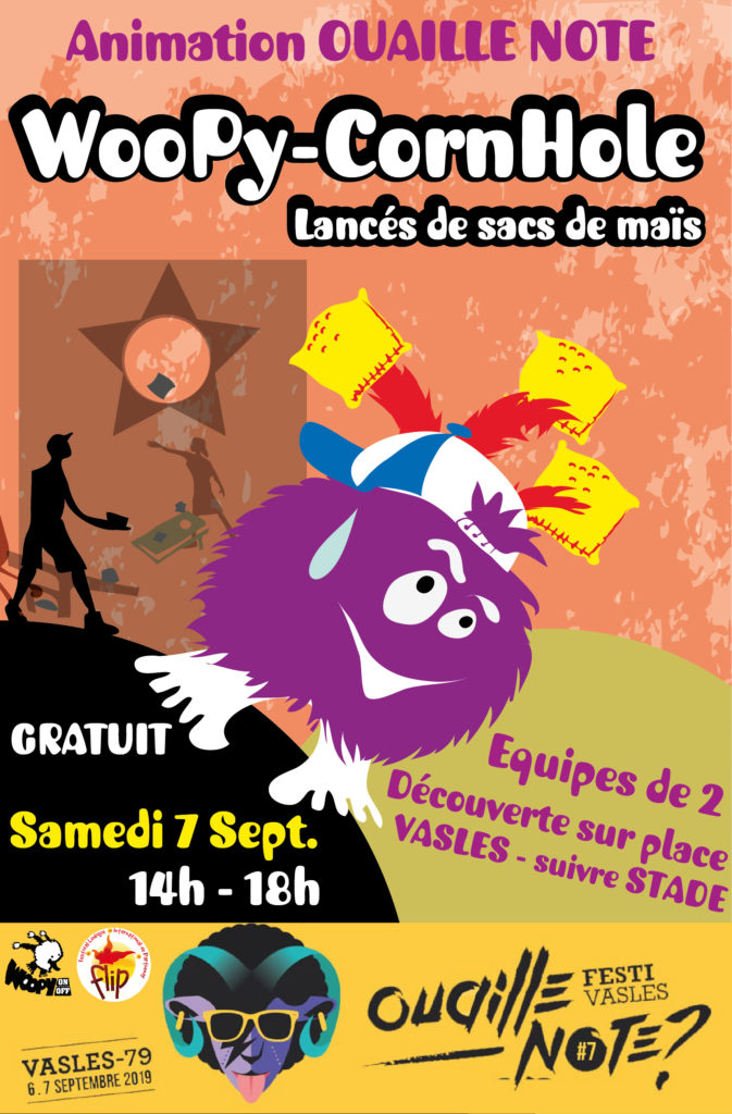 Animation cornhole au festival Ouaille Note, le 7 septembre 2019, avec l'association Woopy On Off